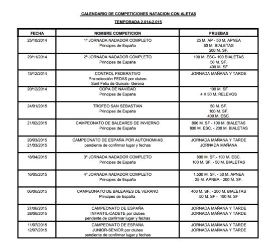 CALENDARIO DE COMPETICIONES NATACION CON ALETAS