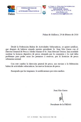 NOTIFICACION CAMBIO LICENCIAS PESCA SUBMARINA
