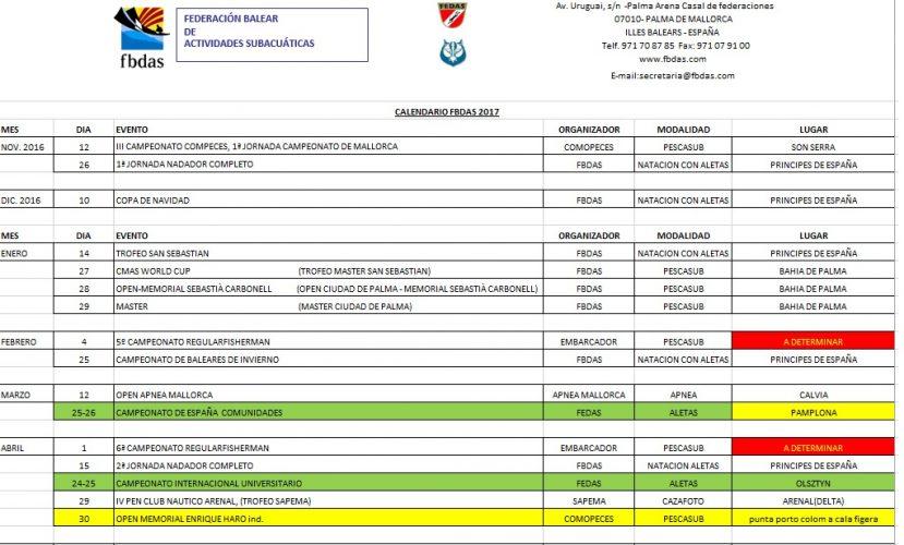 Calendario competiciones 2017