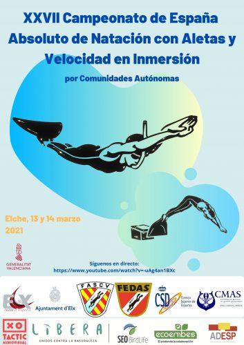 EN DIRECTO DESDE EL CANAL YOUTUBE FEDAS EL XXVII Campeonato de España Absoluto por Comunidades Autónomas de Natación con Aletas
